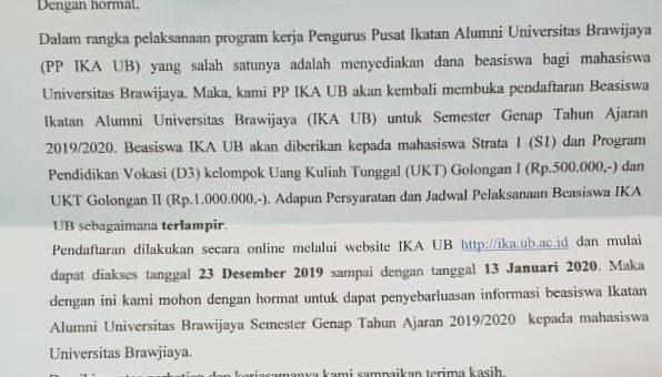 Registration of Universitas Brawijaya Alumni Association Scholarship (IKA UB)